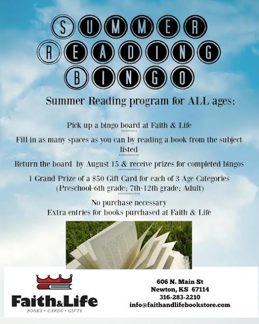 Summer Reading Bingo Program Faith & Life Newton Ks 2016
